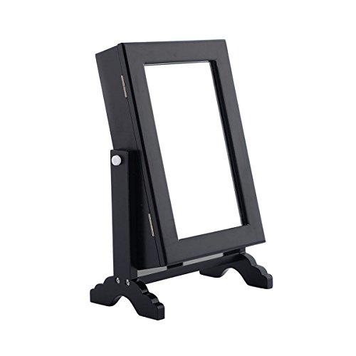 Black Jewelry Cabinet Mirror Armoire Counter/Table Top Organizer Storage Stand Small With Ebook (Small Mahogany Jewelry Armoire)