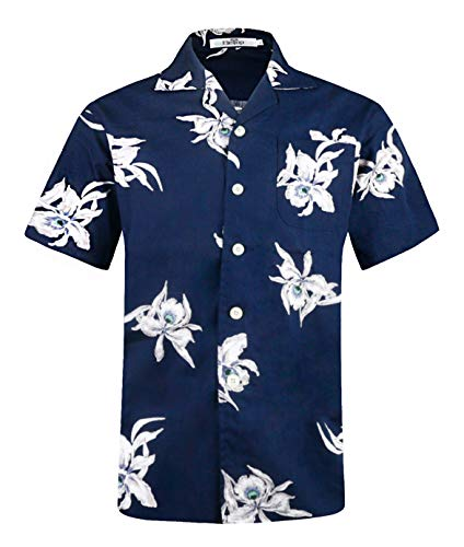 Men's Hawaiian Shirt Short Sleeve Aloha Shirt Beach Party Flower Shirt Holiday Print Casual Shirts Navy EHS016-XL