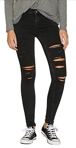 Pants Women's 0119 Stylish Skinny Angcoco Ripped Holes Destroyed Jean ZfqPwSv