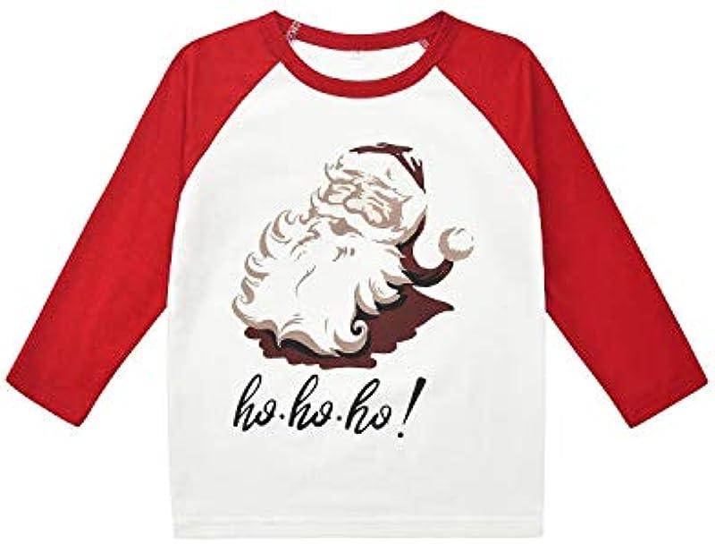 Passende Familien-Weihnachtspyjamas-Sets, Weihnachts-Snap-PJs mit Weihnachtsmann-bedrucktem Langarm-T-Shirt und Karierten Hosen: Odzież