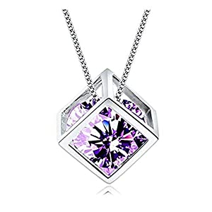 MINI LIFE S925 Sterling Silver Pendant Necklace Jewelry with 14k Platinum Gold Plated,Swarovski Elements Crystal(Gift Box Packing) (Purple Cube)