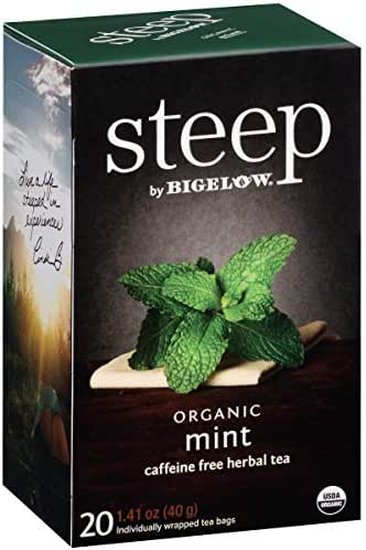 Steep by Bigelow Organic Mint Caffeine Free Herbal Tea 20 Count (Pack of 6) Caffeine-Free Individual Herbal Tisane Bags, for Hot Tea or Iced Tea, Drink Plain or Sweetened with Honey or Sugar