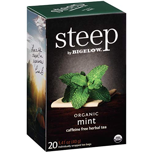 Steep by Bigelow Organic Mint Caffeine Free Herbal Tea 20 Count (Pack of 6) Caffeine-Free Individual Herbal Tisane Bags, for Hot Tea or Iced Tea, Drink Plain or Sweetened with - Chai Organic Tea Decaffeinated