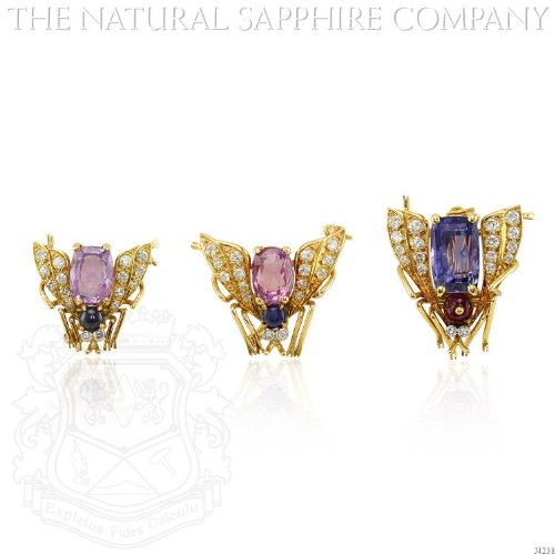 SET OF THREE 18K YELLOW GOLD, SAPPHIRE, RUBY AND DIAMOND FLY PINS, VAN CLEEF & ARPELS. ()