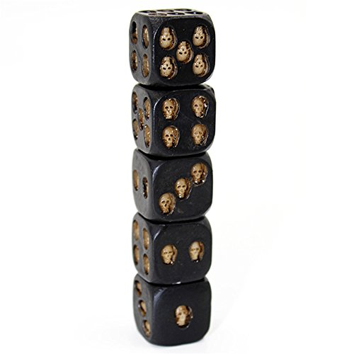 LHIABNN 5 Pcs Pack Set Small Mini Black Skull Dice Grinning 3D Skeleton Dice Scary Novelty Creative Board Table Game Tool for Club Pub Party Entertainment by LHIABNN