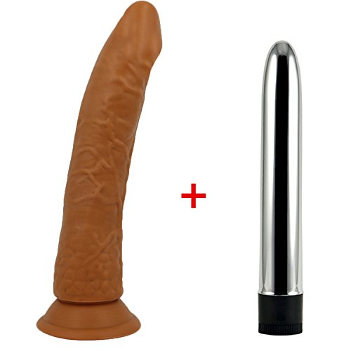 21cm Long Big Jelly with Strong Suction Cup & Vibrator Big Sex Toy for Woman Adult Sex Products,Vibrator Brown