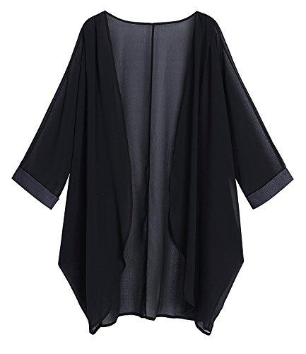Sipaya Women's Black Cover up Chiffon Cardigan Kimono Cardigan S - Lightweight Kimono