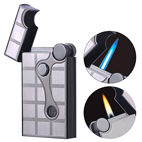 HUOWA Jet Torch Cigar Lighter Soft/Jet Flame Switchable Cigarette Lighter with Adjustable Flame Dial, Butane Refillable for Tobacco Pipe & Cigar
