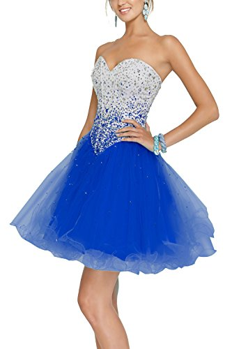 Zhongde Sparkly Sweetheart Corset Short Tulle Prom Cocktail Dress Evening Party Ball Gown For Girls Royal Blue Size 22 (Neckline Gown Ball Sweetheart)