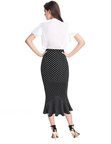 Sue&Joe Women's Mermaid Skirt High Waist Fishtail Hem Plain Bodycon Pencil Skirts, Polka Dot, Small