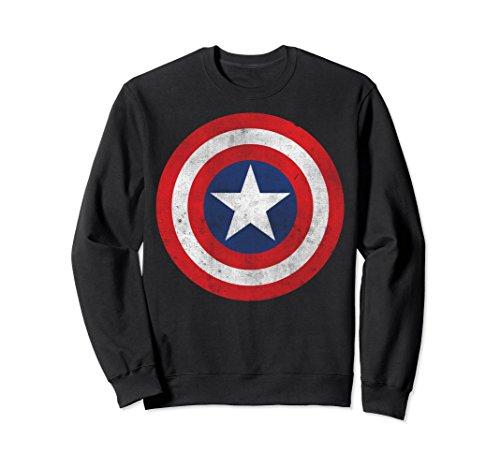 Shield Mens Sweatshirt - Unisex Marvel Captain America Classic Shield Graphic Sweatshirt Large Black