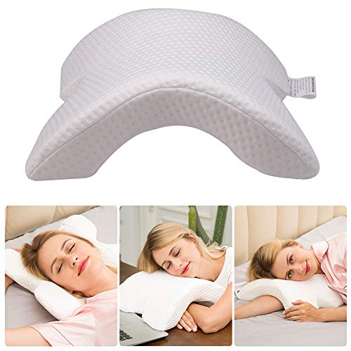 CCidea Memory Foam Pillow, Cervical Pillow, No Pressure - Side Sleeping, Office Rest Pillow, Arched Ice Silk Fabric Couple Pillow (1 Pack)