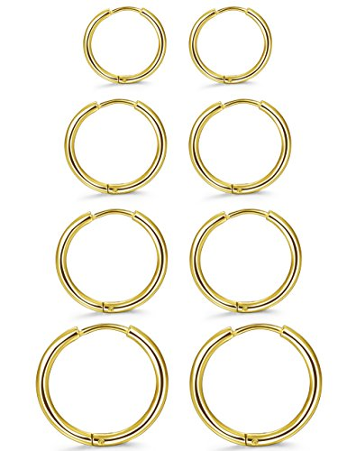 ORAZIO 4 Pairs Stainless Steel Hoop Earrings Set Huggie Earrings for (Delicate Hoop)