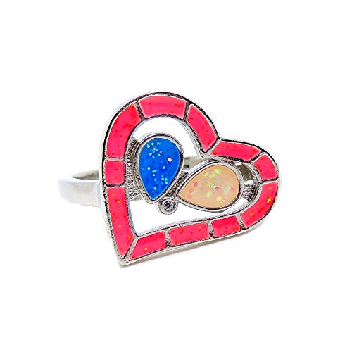 Ginger Lyne Collection Heart Lab Created Opal Multi Colored Ring