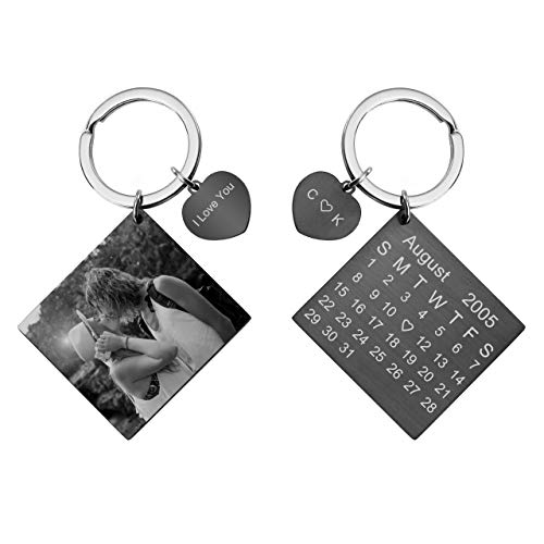 - Personalized Master Custom Photo/Calendar/Text Keychain Customized Picture Stainless Steel Key Chain with Heart Special Day Birthday