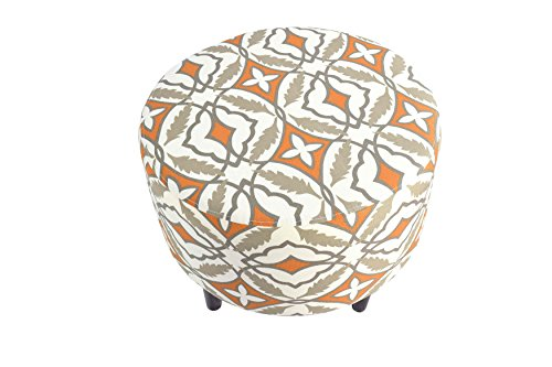 MJL Furniture Designs Sophia Collection Fabric Upholstered Round Footrest Ottoman with Round Espresso Finished Legs, Eden Series, Cinnamon by MJL Furniture Designs (Image #1)