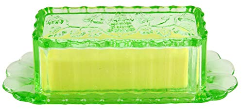 HOME-X Glass Butter Dish with Lid and Grape Pattern, Retro Kitchen Decor, Wedding Gift