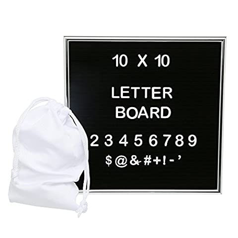 Felt Letter Board 10x10 with Premium Aluminum Frame - Including Mounting Hook and Frame Stand - Perfect for Home Decoration, Advertising, Teaching, Quotes, and GIFT - 261 Characters Letters - Felt Tip Font