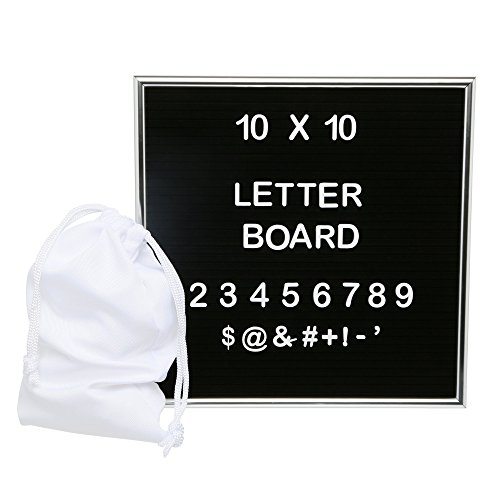 Cheap  Felt Letter Board 10x10 with Premium Aluminum Frame - Including Mounting Hook..