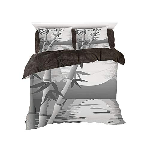 Flannel 4 Piece Cotton Queen Size Bed Sheet Set for Bed Width 5ft Winter Holiday Pattern by,Bamboo,Stem of The Bamboo Plant by The River in Full Moon at Night Twilight Horizon Artful Print,Grey