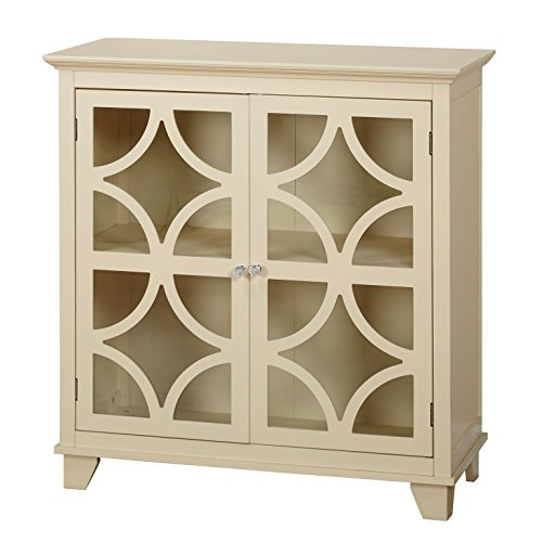 Ivory Kitchen Cabinet - Target Marketing Systems Sydney Accent Storage Cabinet with Trellis Overlay Glass Doors and 2 Shelves, Ivory