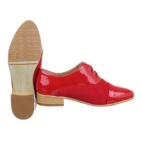 Ital-Design - Zapatos de vestir brogues Mujer Rot XQ315