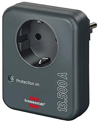 mit /Überspannungsschutz 13.500 A, Adapter als Blitzschutz f/ür Elektroger/äte Brennenstuhl Steckdosenadapter anthrazit