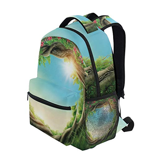 KVMV Tree Enchanted Forest in Spring Fresh Growth Foliage Blossoms Fairytale Fantasy Green Pink Cocoa Lightweight School Backpack Students College Bag Travel Hiking Camping Bags (Foliage Fairy Green)