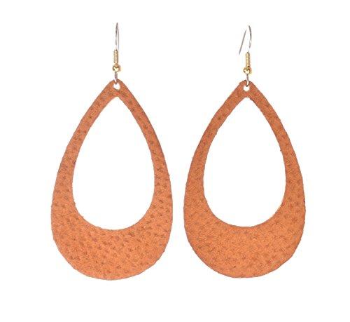 Laguna LeatherWear - 'Ginger Air' - Suede Leather Teardrop Earrings
