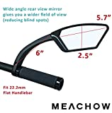 MEACHOW Scratch Resistant Glass Lens,Handlebar Bike Mirror, Rotatable Safe Rearview Mirror, Bicycle Mirror (Sliver Right Side) ME-002RS