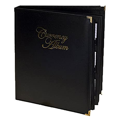 US Currency Luxury Album Black Leatherette Binder For Modern Notes w// Background