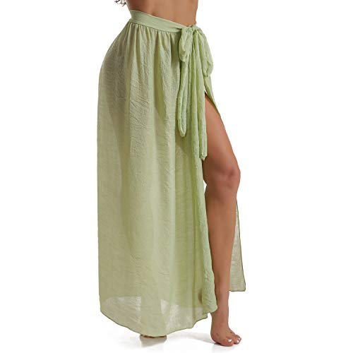 - Womens Sarongs for The Beach Bathing Suit Swim Cover Up Tie Maxi Long Wrap Skirt (Green-US 4-12)