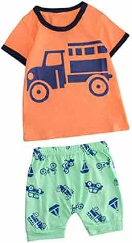 0af08f659c Winsummer Baby Boys Girl Summer Cotton Short Sleeve Outfits Set Cartoon T- Shirt and Stripe