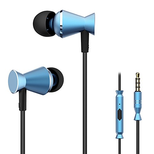 Wired In Ear Headphones Corded Earbuds Powerful Bass Earphones w/HD Stereo Sound, Rugged Cord, Lightweight Sport Headset w/Mic Volume Controls for Women Men, iPhone Android Cell Phones (Blue)