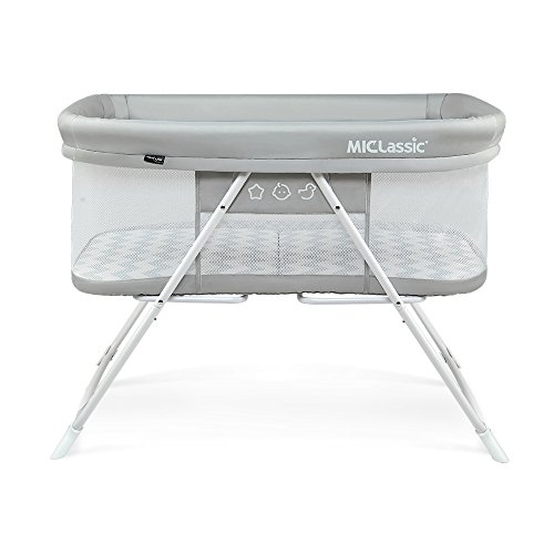 2in1 Rocking Bassinet One-second Fold Travel Crib Portable Newborn Baby,Gray