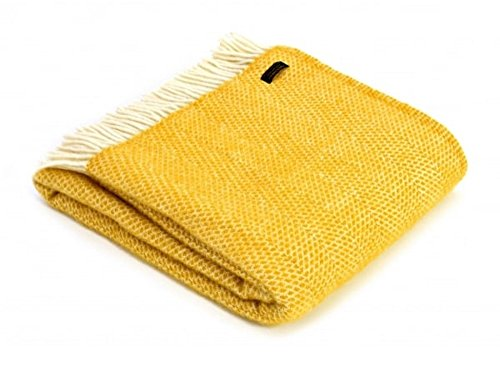 Tweedmill Textiles 100% Pure Wool Blanket Beehive Throw Design in Mustard Yellow Made in UK