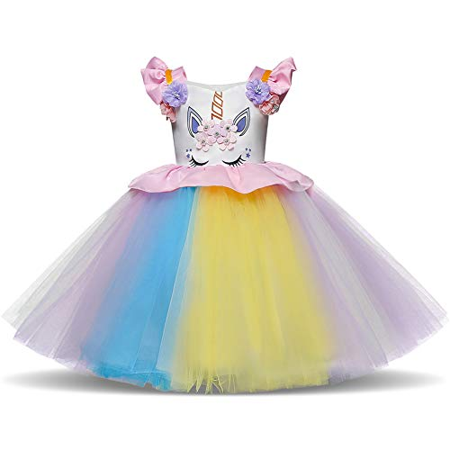 Toddler Flower Girl Unicorn Costume Dress Ruffles Birthday