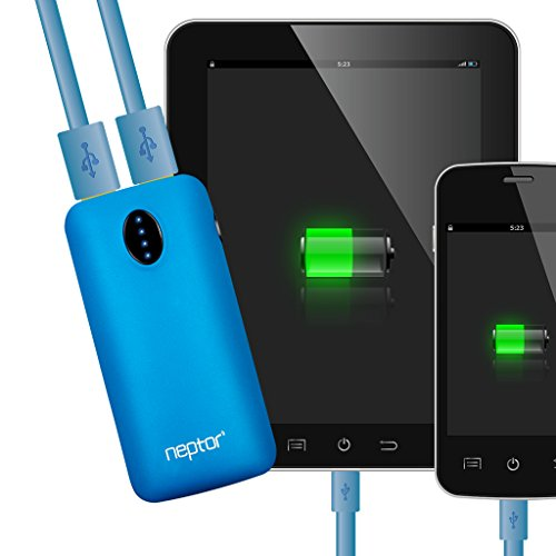 Neptor 5600mAh 3.1A Output 2nd Gen Dual Port Fast Charging External Portable Battery Pack Travel Battery Charger for iPhone 5C/5S, iPad mini, Samsung Galaxy S4/S5, Note, Nexus, LG, HTC and Motorola - Retail Pack Includes Flashlight Color Matching USB Cable/Lanyard - Blue (5600 Travel Charger Wall)