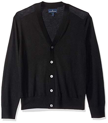 BUTTONED DOWN Men's Italian Merino Wool Lightweight Cashwool Cardigan Sweater, Black, X-Large ()