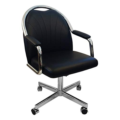 Caster Chair Company Empire Casual Rolling Caster Dining Chair in Chrome Finish with Black Leatherette Seat and Back