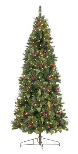 GKI Bethlehem Lighting 7.5-Foot Canterbury Slim Christmas Tree with 300 Energy Star Warm White Frost LED Lights
