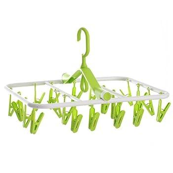 Zebratown 360° Rotating Foldable Windbreak Hangers for Clothes Sock 20 Racks (Green)