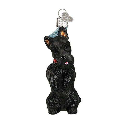 Old World Christmas Glass Blown Ornament with S-Hook and Gift Box, More Dogs Collection (Scottish Terrier)