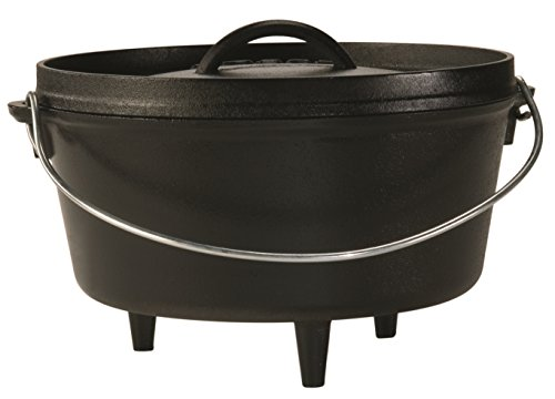 Lodge L10DCO3 Cast Iron Deep Camp Dutch Oven, Pre-Seasoned, ()