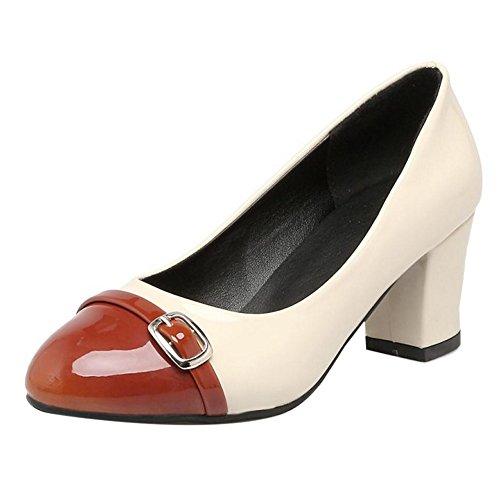 COOLCEPT Zapato Mujer Western Tacon Ancho medio Sin Cordones Mixed Colors  Court Zapatos With Hebilla Marron 4bf30f69cd48