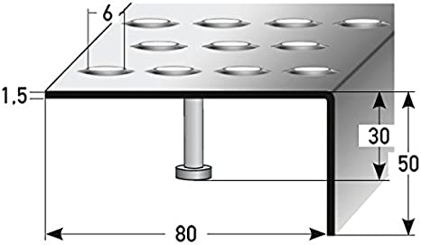 1 metro Mamperlán / Perfil de escalera (acero inoxidable) 50 x 80 mm con orificio de anclaje y relieve, antideslizante: Amazon.es: Hogar