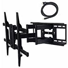 """VideoSecu Articulating Full Motion TV Wall Mount for 32\""""-65\"""" LED LCD Plasma TVs up to 165 lbs with VESA up to 684x400 mm, Dual Arm pulls out up to 25 Inch, with Leveling Adjustments, Bonus 10 ft HDMI Cable A37"""