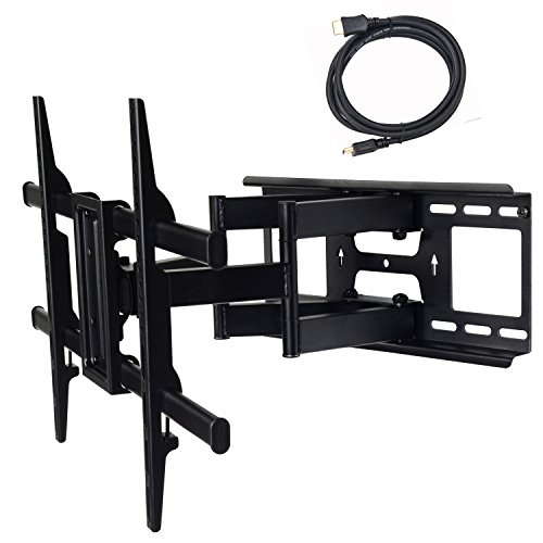 VideoSecu MW380B3 Full Motion Articulating TV Wall Mount Bracket for most 37'-70' LED LCD Plasma HDTV up to 165 lbs with VESA 684x400 600x400 400x400 200x200mm, Dual Arm pulls out up to 16' AW8
