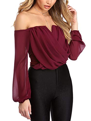 YOINS Women Tops Blouse Off Shoulder Long Bell Sleeves Patchwork Design Fashion Knits Tee Tops D09-Burgundy M (Top Fashion)