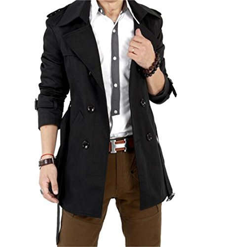 GESELLIE Mens Slim Double Breasted Trench Coat Belted Long Jacket Overcoat Outwear, US S/Tag L, Black